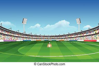 Stadium of cricket - illustration of stadium of cricket with...