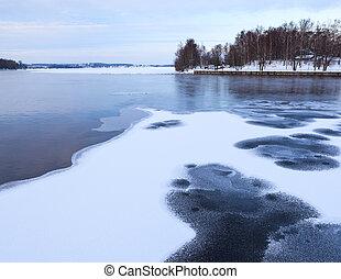 Thin ice at lake