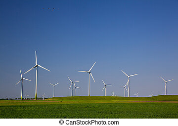 Wind turbines producing alternative energy