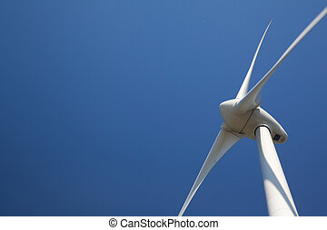 Windturbine - Close up op wind turbine with a clear blue sky