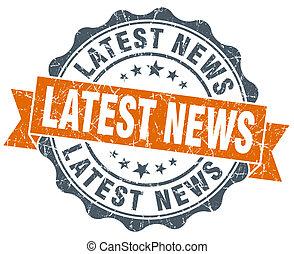 latest news vintage orange seal isolated on white