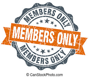 members only vintage orange seal isolated on white