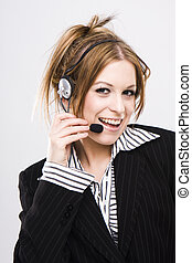 Customer support operator woman smiling - isolated