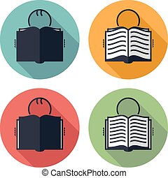 vector icons of student and book