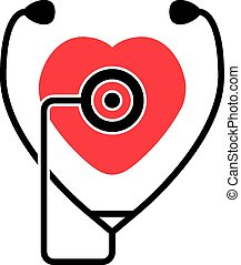vector heartbeat and stethoscope