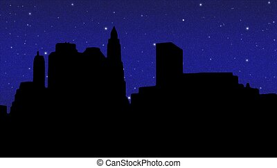 Lower Manhattan silhouette on the night starry sky...
