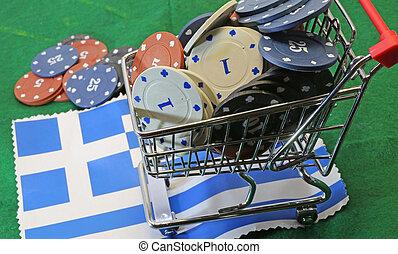 Lleno, compras, encima, casino, carrito, bandera, grecia,...