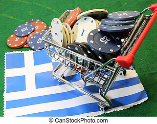 Shopping cart full of casino chips over the flag of Greece...
