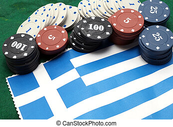 Chips tokens for gambling over the flag of Greece - casino...