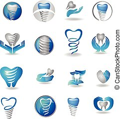 Print - Dental implants symbol collection. Clean and bright...