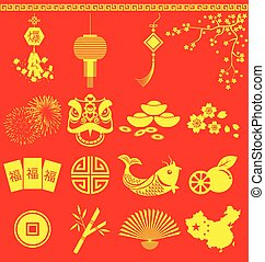 Chinese New Year icons Chinese wording translation is burst...