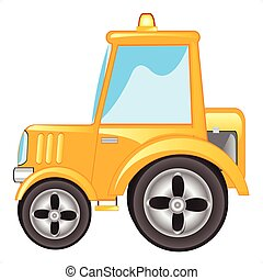 Yellow tractor - Vector illustration yellow tractor on white...
