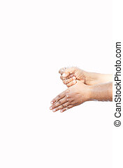 woman washing her hand in step by step over white background