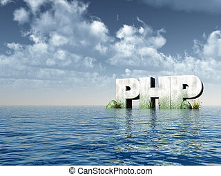 php - the letters php monument at the ocean - 3d...