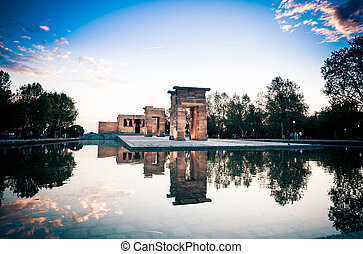 The Temple of Debod in Madrid - Madrid, Spain - May 10, The...