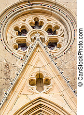 Architectural detail of Lourdes Church, Gozo, Malta, a...