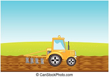 Tractor plows land in field - Yellow tractor with plow plows...