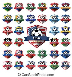 Mega Collection of soccer football badgeIllustration eps10...