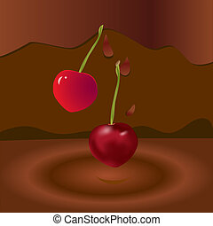 two cherries and chocolate