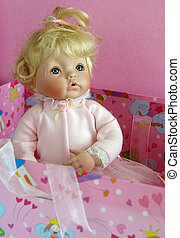 Antique blond porcelain doll portrait - Antique blond...