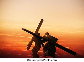crucificação, de, Jesus,