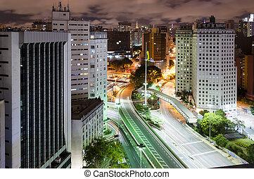 Sao Paulo city, Brazil - Night view of the city Sao Paulo,...