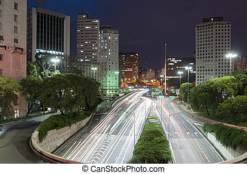 Sao Paulo city, Brazil - Night view of the city Sao Paulo,...