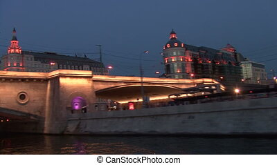Night on the Moscow River. Quay.