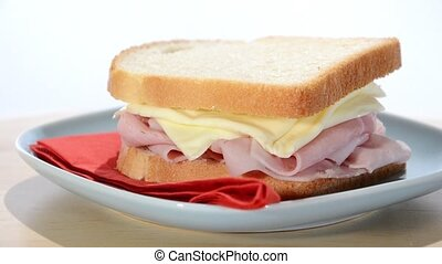 ham and cheese sandwich - toast, ham and cheese sandwich