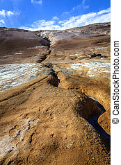 Fissure in the ground in Hverir - geothermal field in...