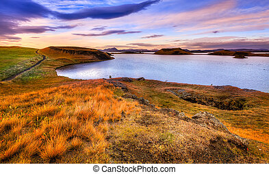 Sunset at Lake Myvatn - Scenic sunset at Lake Myvatn in...