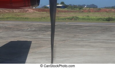aircraft stands on runway waiting for take off - aircraft...