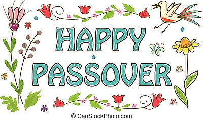 Colorful Passover Sign - Floral banner with happy Passover...