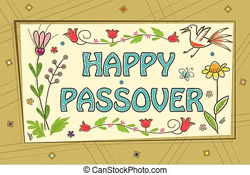 Passover Sign - Floral banner with happy Passover text in...