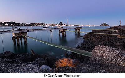 Port Taranaki at first morning light sky.