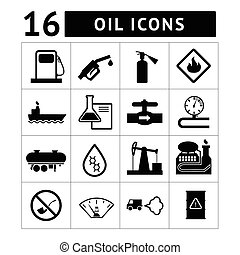 Oil industry and petroleum icons set isolated on white