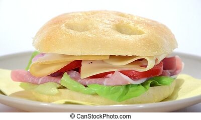 sandwich with ham and cheese - ham and cheese focaccia