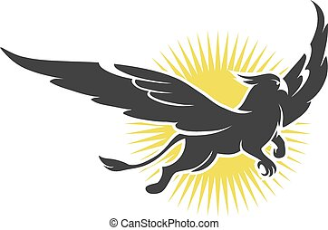 griffin on a background of the sun - Vector illustration of...