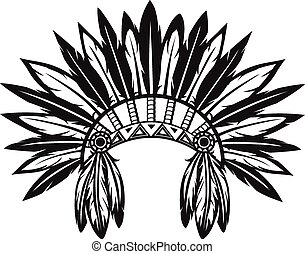 Indian headdress - Vector illustration of an Indian...
