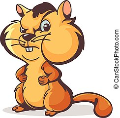 Chipmunk character - Vector character aggressive hamster on...