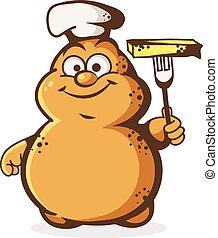 Cute potato chef - Vector illustration of cheerful potato...