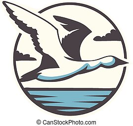 Flying bird - Vector illustration flying bird
