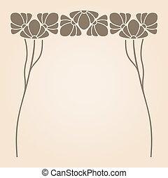 Vector art nouveau frame. - Vector art nouveau ornament with...