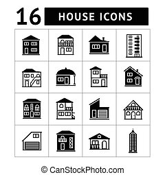 Set of house icons. Real estate and building collection