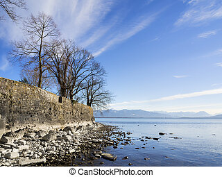 Lake Constance with rocks and trees