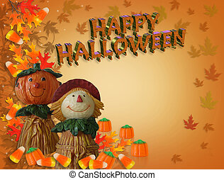 Halloween Border Pumpkin Scarecrow 3D text - Image and...