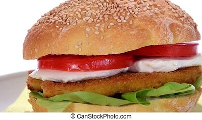 sandwich with chicken cutlet - sesame seed bread with...