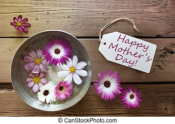Silver Bowl With Cosmea Blossoms With Text Happy Mothers Day...