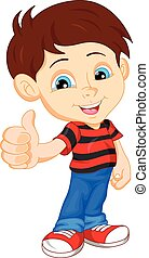 cute boy giving thumb up - illutration of cute boy giving...