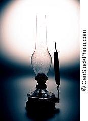old kerosene lamp isolated on white background - old...